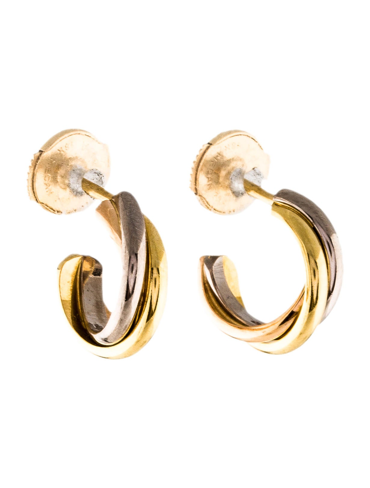 yellow white earrings de e trinity pink cartier gold