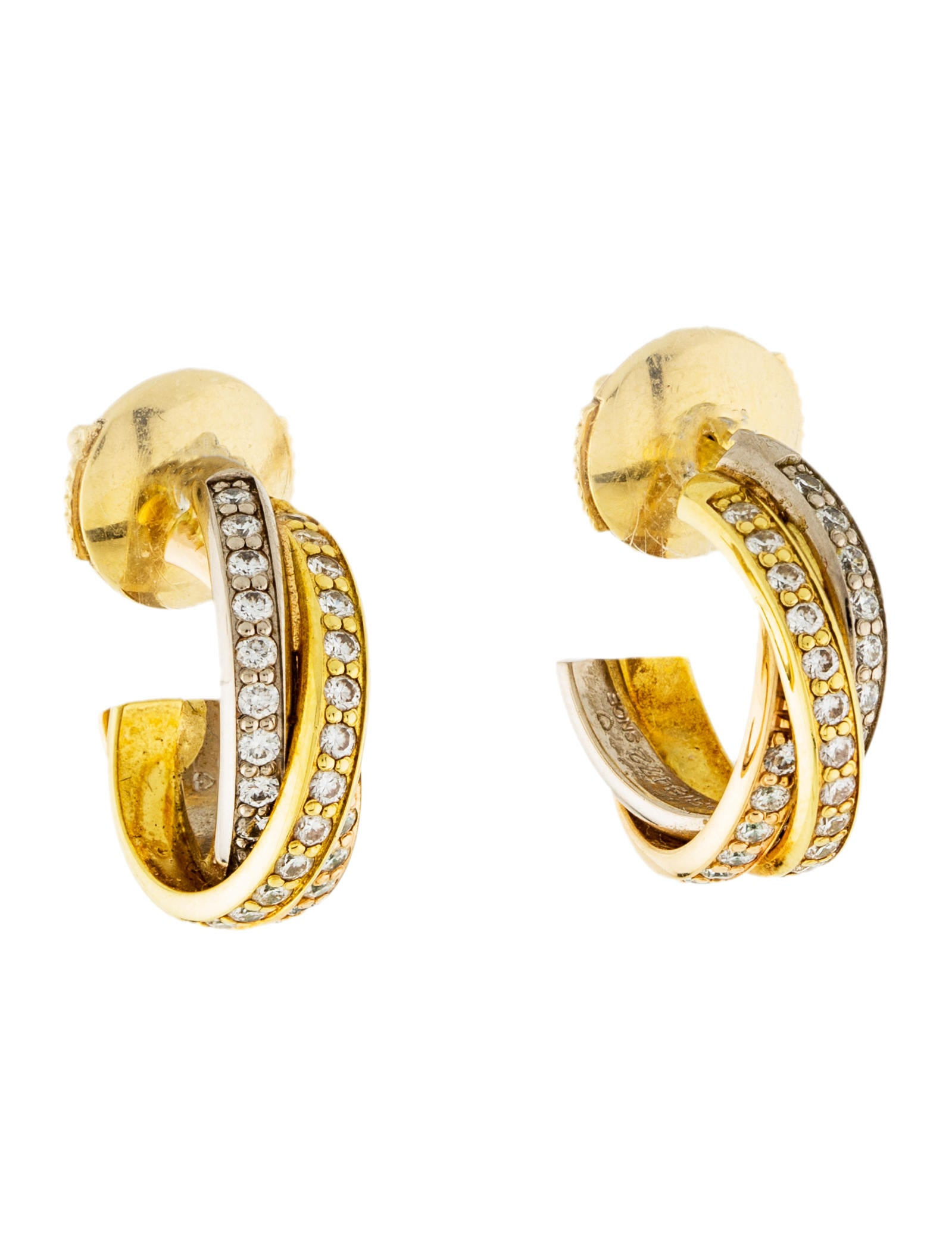 earring de woman earrings golden photo two b three gold trinity ref jewellery cartier tones