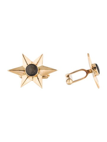 14K Black Star Sapphire Sunburst Cufflinks None