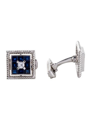 Cufflinks 18K Diamond & Sapphire Cufflinks None