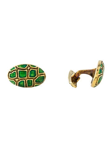 14K Enamel Cufflinks None