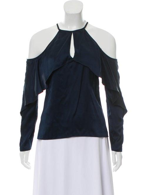 Cushnie Silk Long Sleeve Blouse Blue