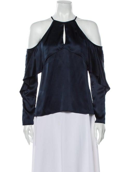 Cushnie Silk Off-The-Shoulder Blouse Blue