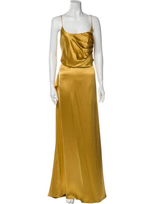 Cushnie Silk Long Dress Yellow