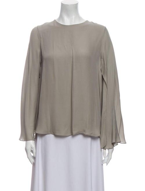 Cushnie Silk Bateau Neckline Blouse Grey