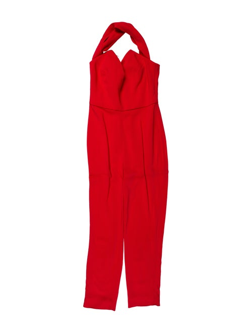 Cushnie Halterneck Jumpsuit Red