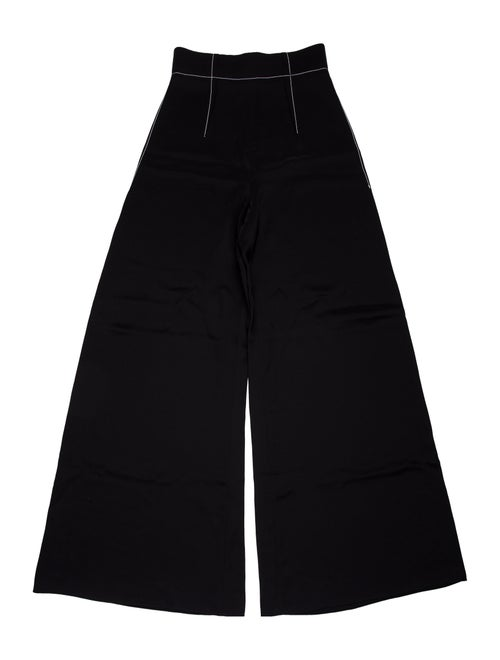 Cushnie Silk Wide Leg Pants Black