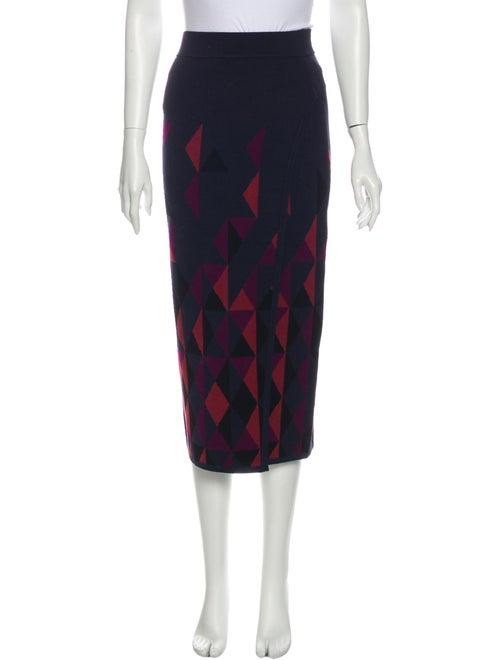 Cushnie Printed Midi Length Skirt Blue
