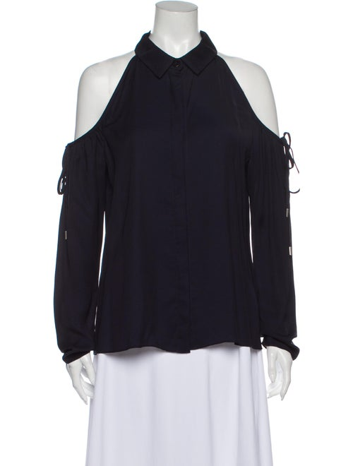 Cushnie Long Sleeve Button-Up Top Blue