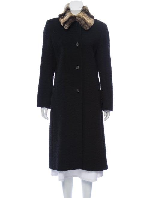 Cinzia Rocca Fur-Trimmed Camel Coat Black