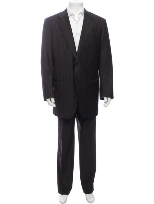 David August Striped Two-Piece Suit Brown