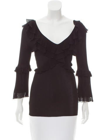 Dolce & Gabbana Ruffle-Trimmed Knit Top w/ Tags None