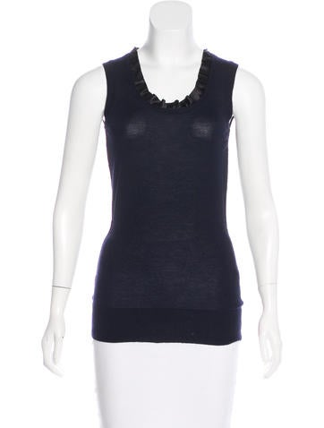 Dolce & Gabbana Silk-Trimmed Cashmere Sleeveless Top None