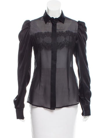 Dolce & Gabbana Lace-Accented Long Sleeve Top None