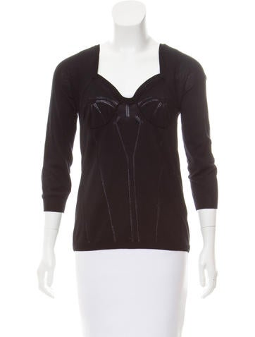 Dolce & Gabbana Virgin Wool Decollete Neck Top None