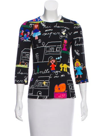 Dolce & Gabbana Graphic Long Sleeve Top None