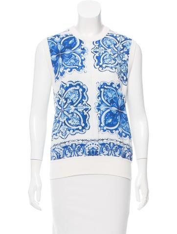 Dolce & Gabbana 2016 Majolica Tile Silk Top None