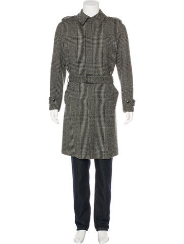 Dolce & Gabbana Houndstooth Wool Belted Coat None