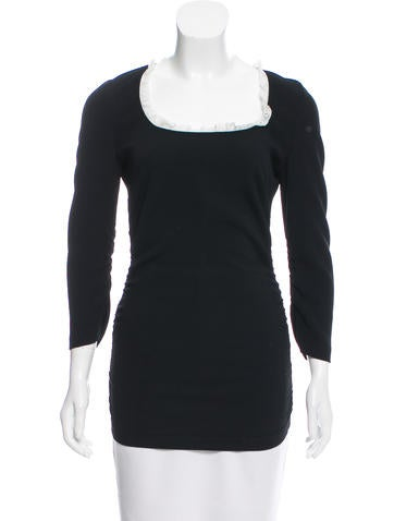 Dolce & Gabbana Ruched Lace-Trimmed Top None