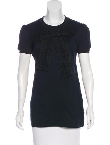 Dolce & Gabbana Lace-Trimmed Short Sleeve Top None