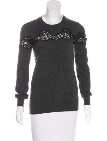 Dolce & Gabbana Lace-Trimmed Cashmere Sweater None