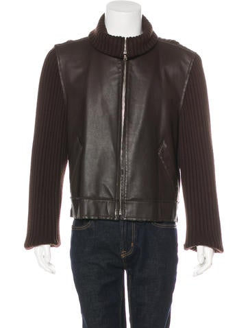Dolce & Gabbana Leather-Trimmed Wool Sweater None