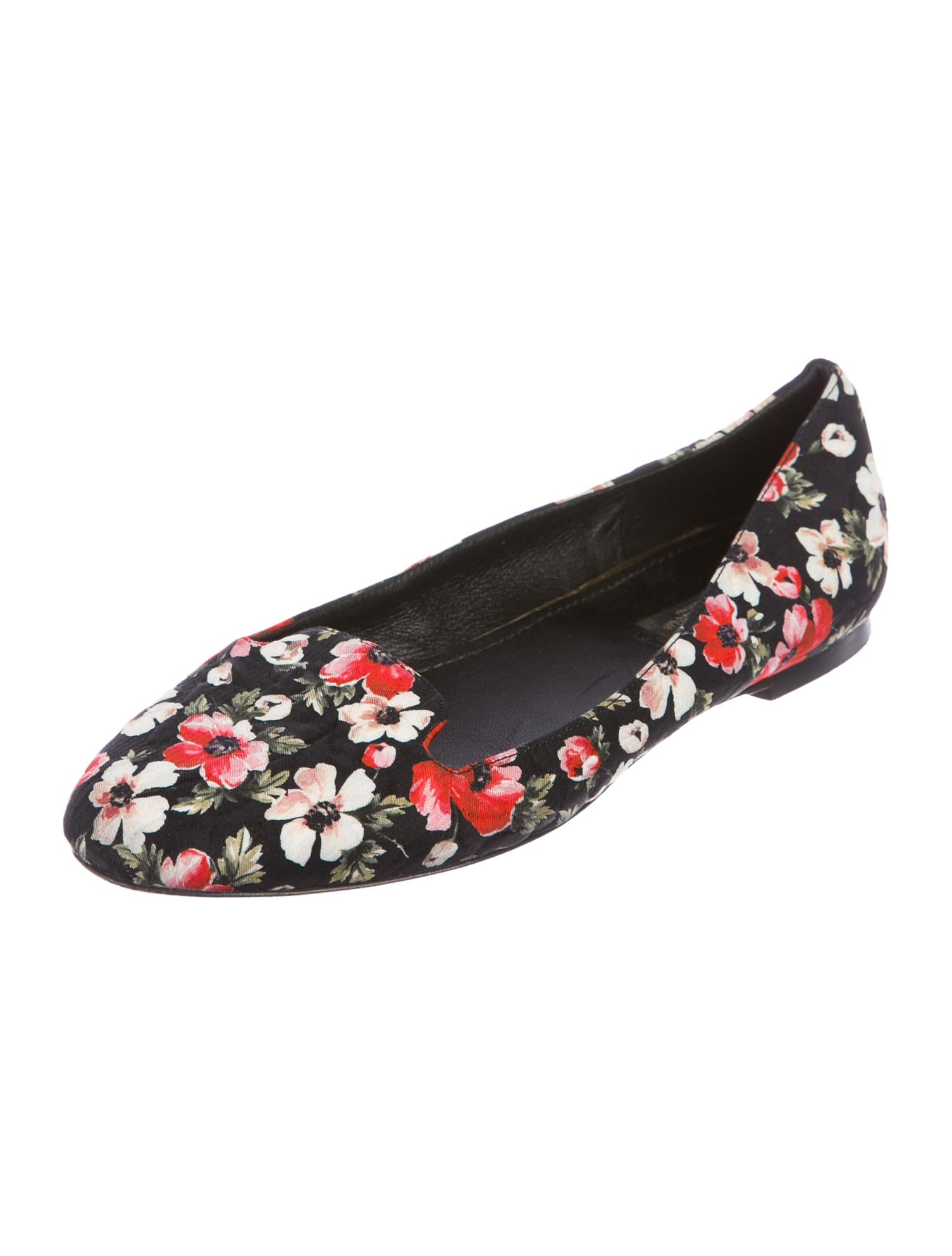 Dolce & Gabbana Floral Print Round-Toe Flats outlet view XaSvXERAY