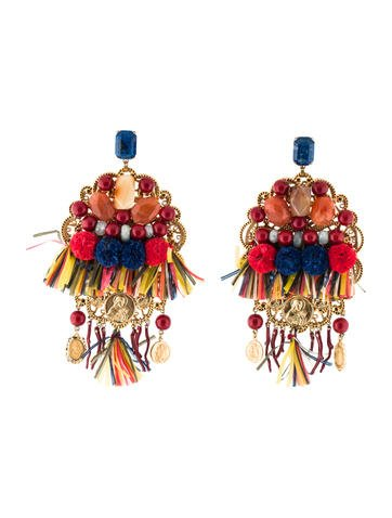jewelry gabbana product dolce orange normal in lyst and drop earrings multi