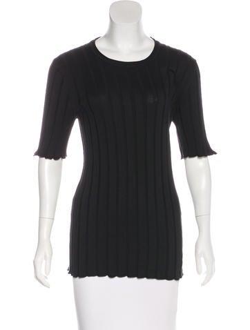 Dolce & Gabbana Rib Knit Silk-Blend Top None