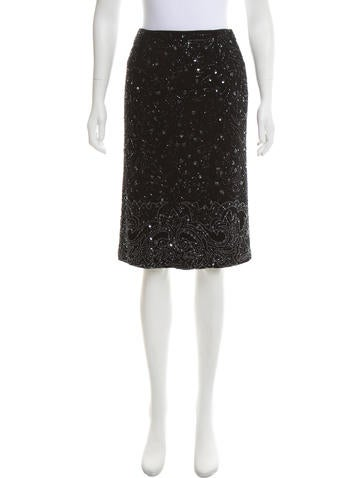 Dolce & Gabbana Wool Beaded Skirt None