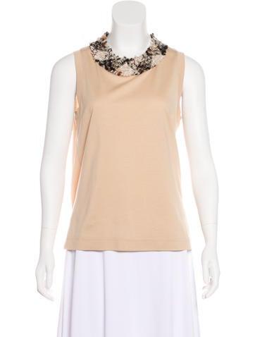 Dolce & Gabbana Bouclé-Trimmed Sleeveless Top None