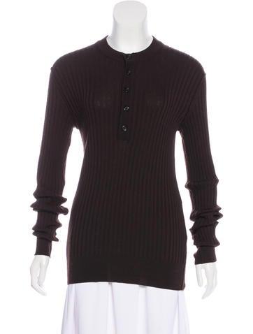 Dolce & Gabbana Long Sleeve Rib Knit Top None
