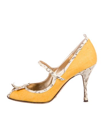 Dolce & Gabbana Snakeskin-Accented Peep-Toe Pumps best new styles cheap price outlet cheap online outlet pay with paypal m22W45p