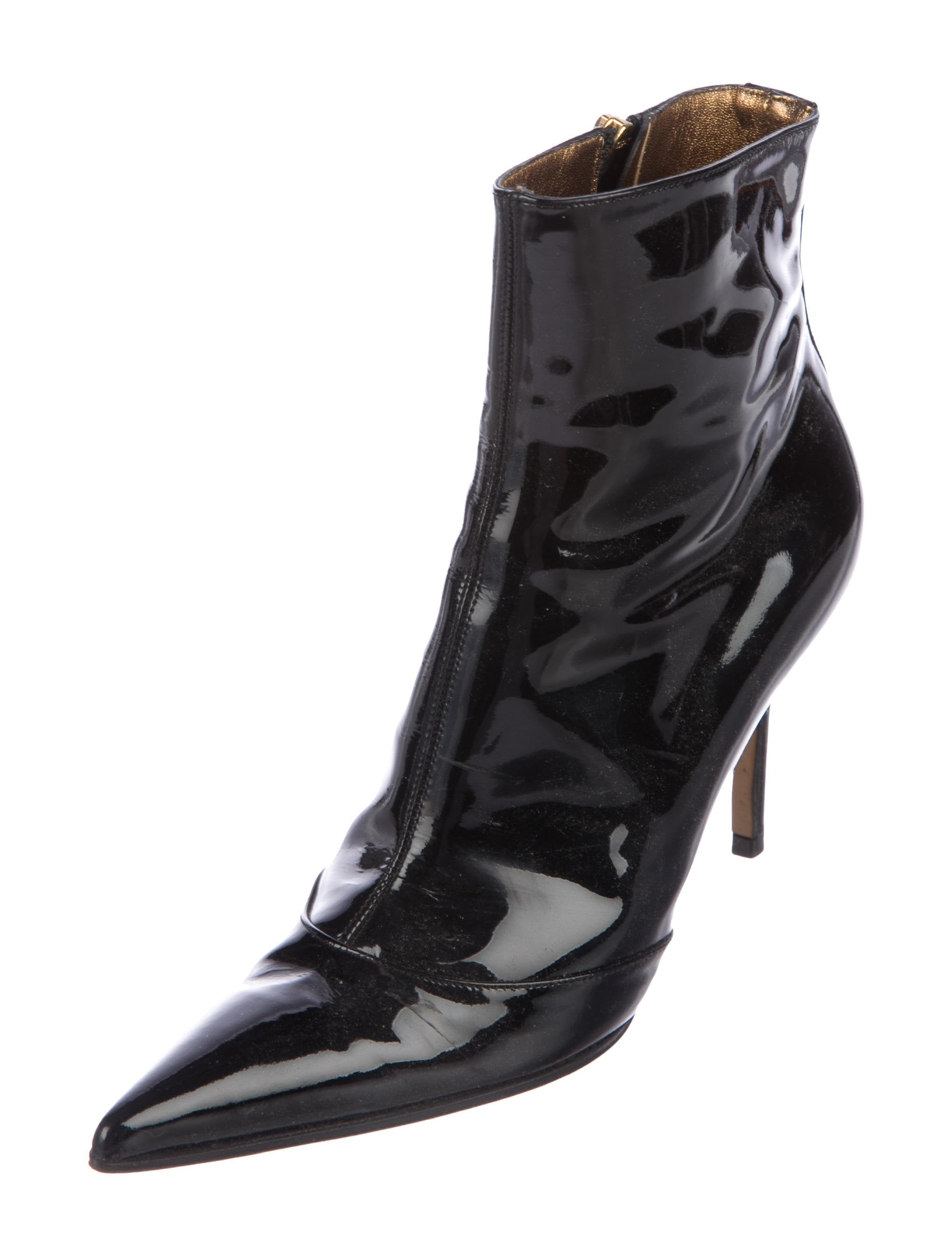 Dolce & Gabbana Patent Leather Pointed-Toe Booties cheap sale shop offer jurXb