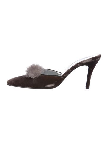 2014 new for sale discount recommend Dolce & Gabbana Mink-Trimmed Velvet Mules kYJx5B