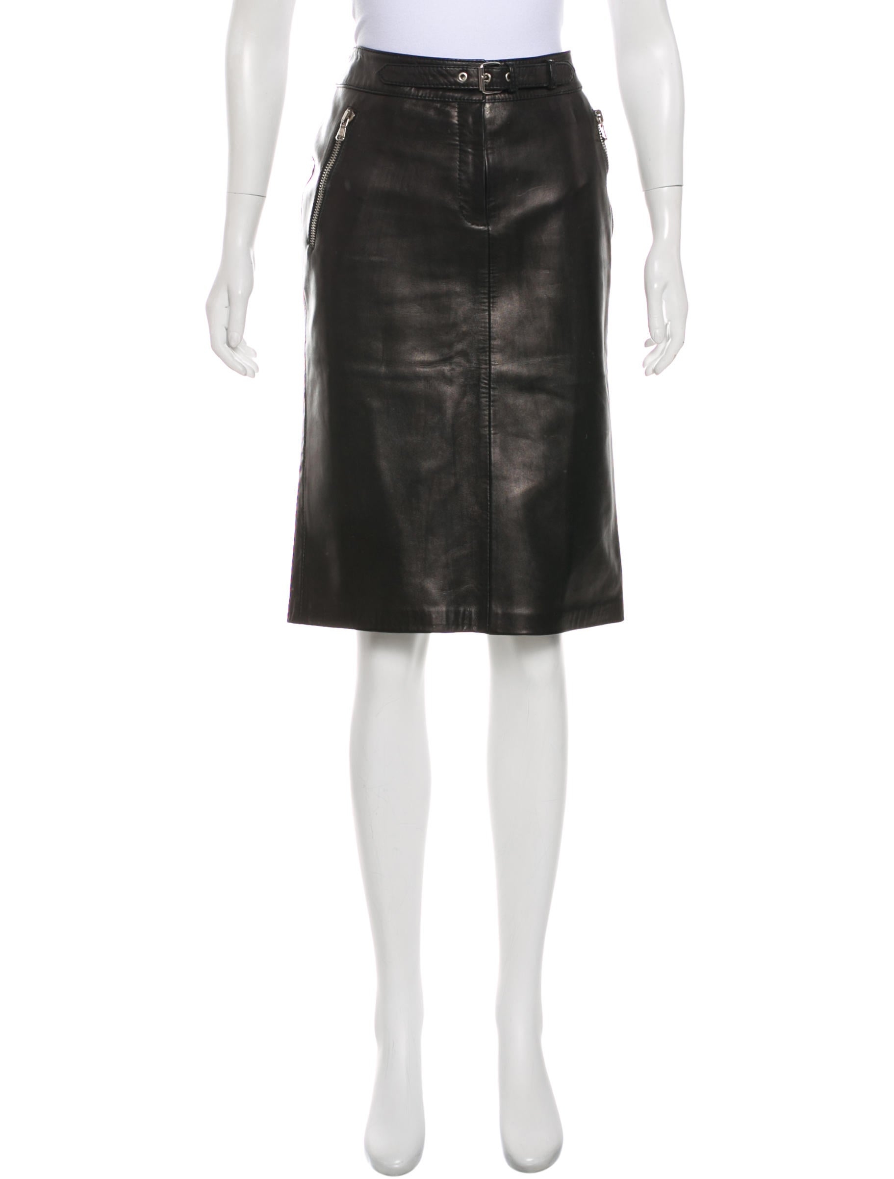 Professional Sale Online Discount Shopping Online Dolce & Gabbana Leather Knee-Length Skirt With Mastercard Cheap Price Very Cheap Cheap Online Lowest Price C8oKR2n3Qp