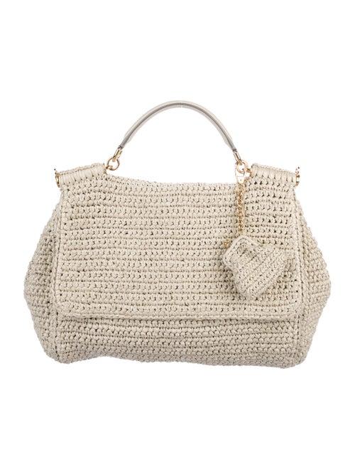 Dolce   Gabbana Leather-Trimmed Raffia Bag - Handbags - DAG117324 ... 7ac37fda8402e