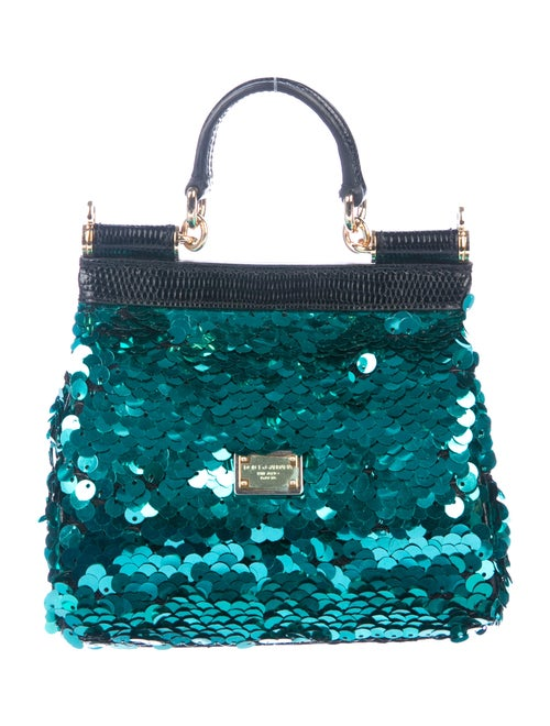 b029271fbdc Dolce & Gabbana Lizard-Trimmed Sequined Mini Miss Sicily Bag ...