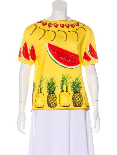 Dolce & Gabbana Cut-Out Fruit Print Top Yellow