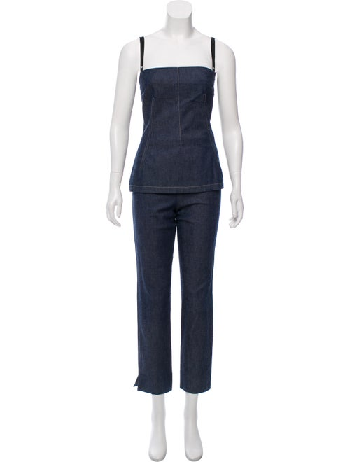 Denim Corset And Pants Set by Dolce & Gabbana