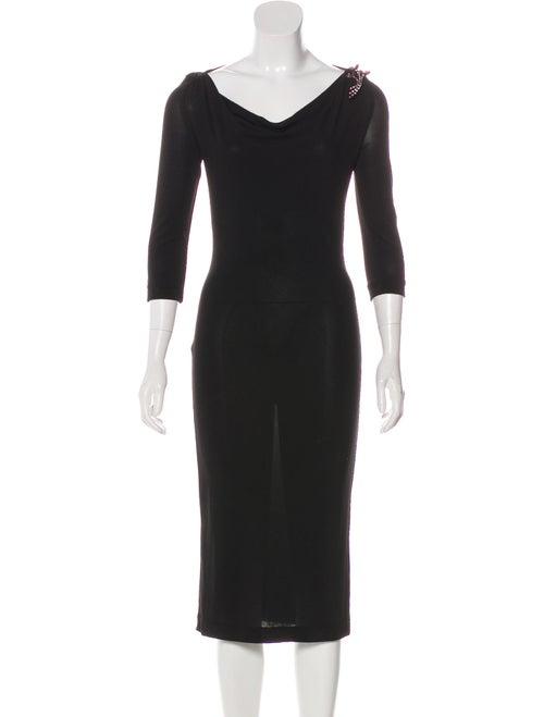 Dolce & Gabbana Embellished Knit Dress Black - image 1