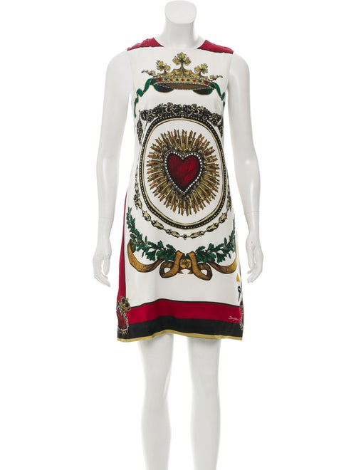 Dolce & Gabbana Heart Print Silk Dress White