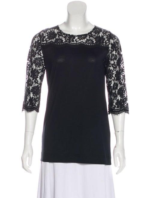 Dolce & Gabbana Long Sleeve Lace Knit Top Black - image 1
