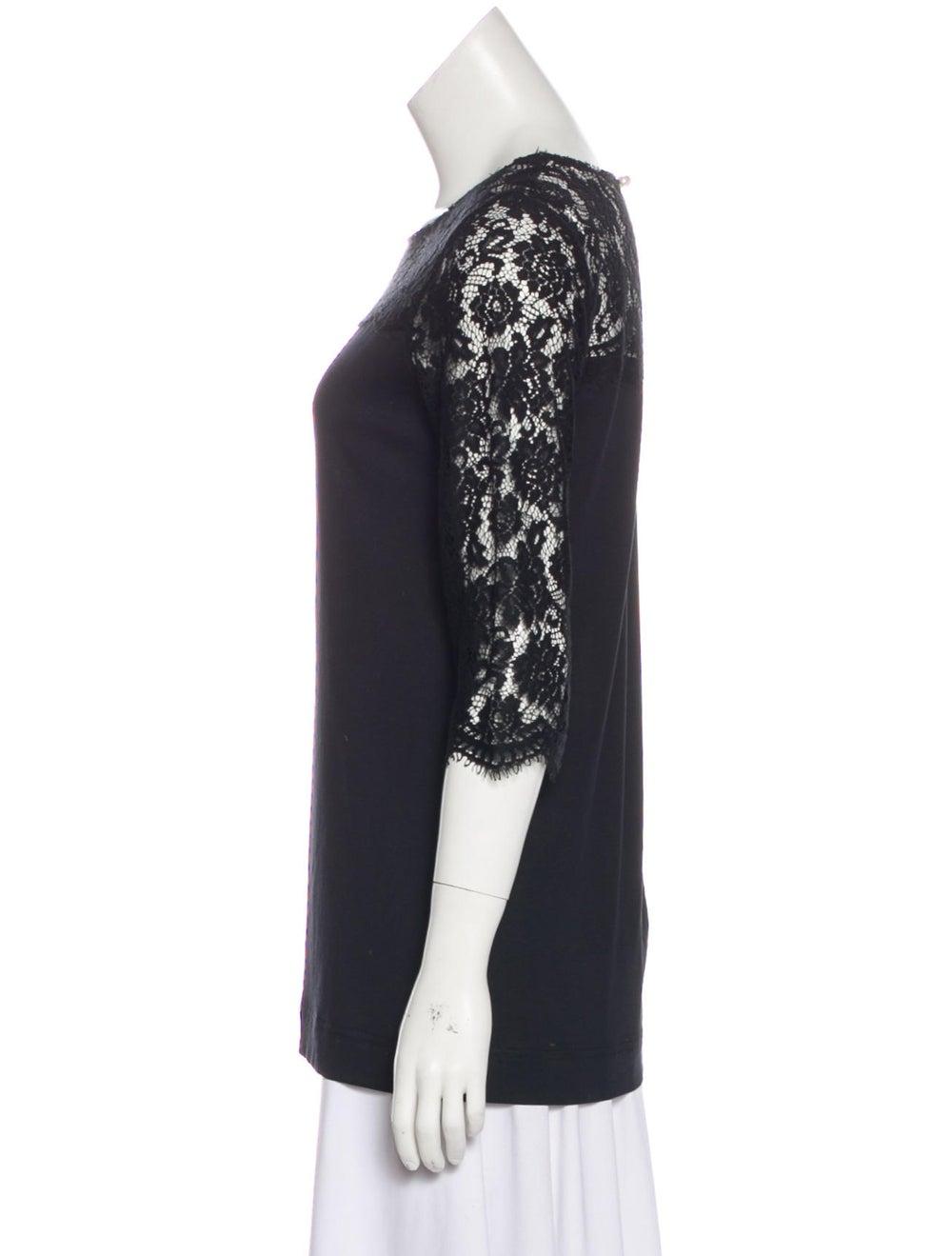 Dolce & Gabbana Long Sleeve Lace Knit Top Black - image 2