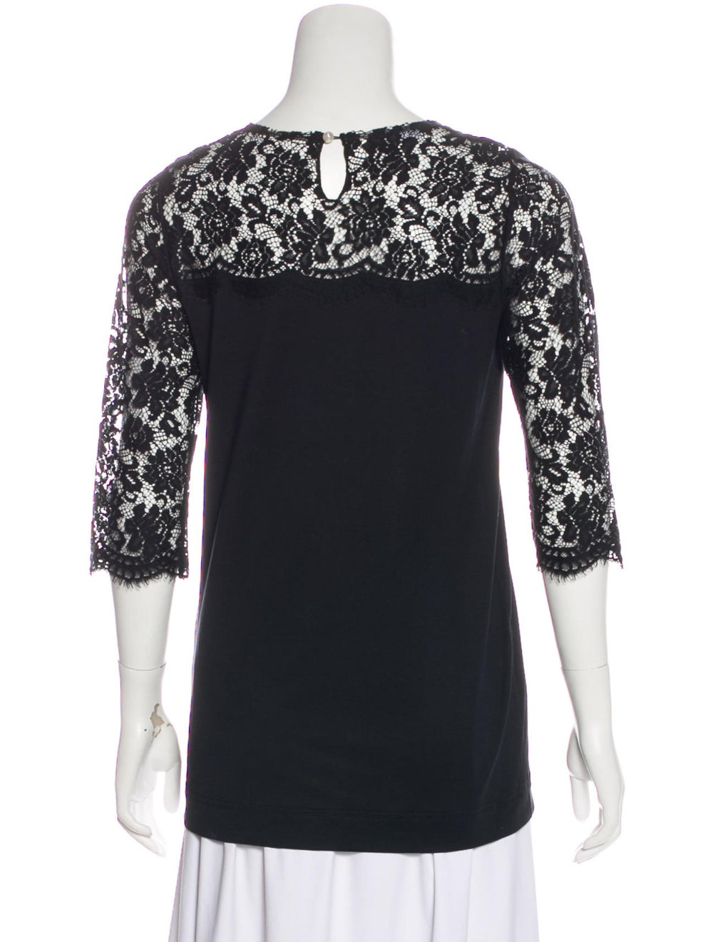 Dolce & Gabbana Long Sleeve Lace Knit Top Black - image 3