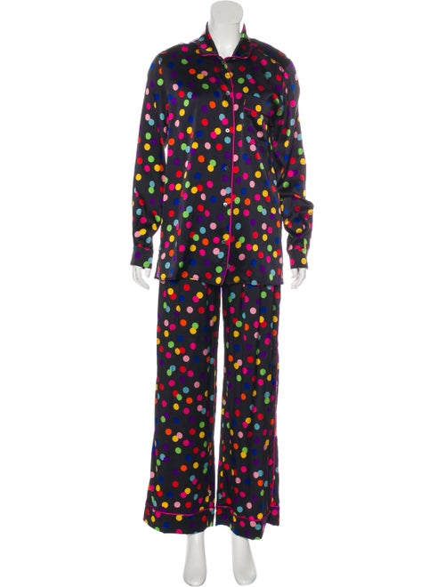 Dolce & Gabbana Polka Dot Silk Pajama Set Black