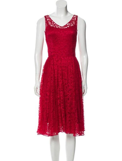 Dolce & Gabbana Lace Midi Dress Red