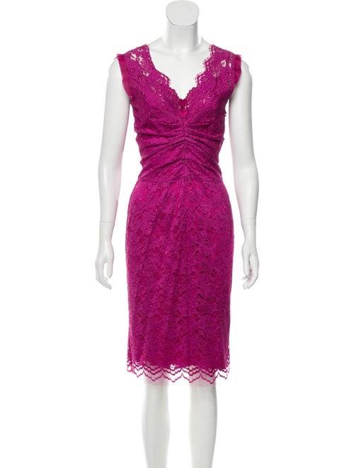Dolce & Gabbana Lace Midi Dress Purple
