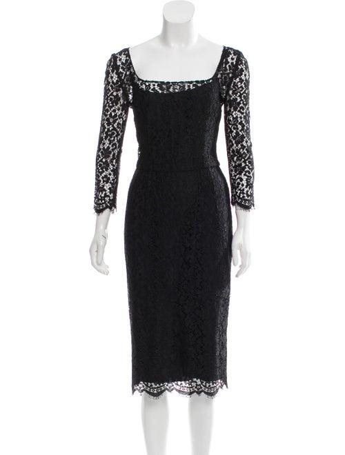 Dolce & Gabbana Lace Midi Dress Black