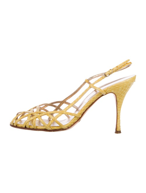 Dolce & Gabbana Snakeskin Slingback Sandals Yellow